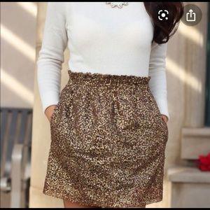 J Crew sequin gold bronze paper bag skirt 8 m